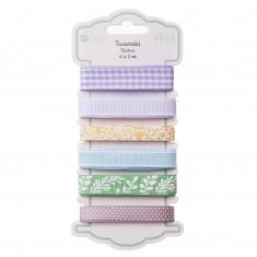 "Súprava textilných stužiek ""Lilac"", 6 ks x 2 m, mix farieb"
