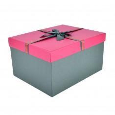 Dekoračná darčeková krabica, 40 x 36 x 21,5 cm, červená so zeleným vrchnákom a mašľou