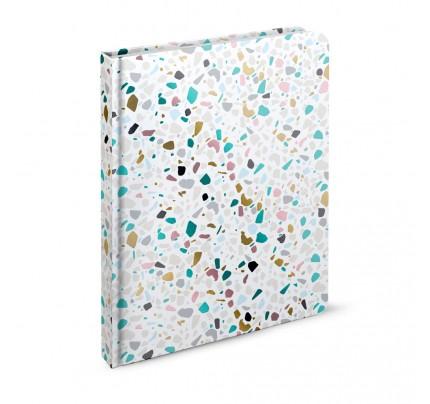 """Záznamová kniha A4 """"abstrakt – terrazzo"""", 2020, 144 listov, linajková"""