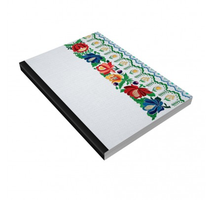 """Poznámkový zápisník ŠEVT s ľahkým vytrhávaním listov, A4, 200 listov, linajkový + čistý, """"ľudová výšivka biela"""""""