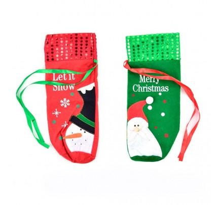 """Vianočný obal na fľašu """"zima a snehuliak"""", 30 x 9 cm, mix farieb"""