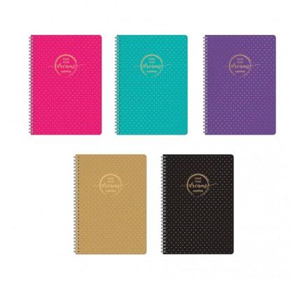"""Exkluzívny blok A4 so špirálou po dlhšej strane """"Gold Style"""", 60 listov, linajkový, mix farieb"""